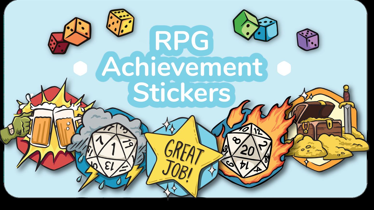 Tabletop rpg clipart freeuse stock RPG Achievement Stickers by Bearowl Studios — Kickstarter freeuse stock