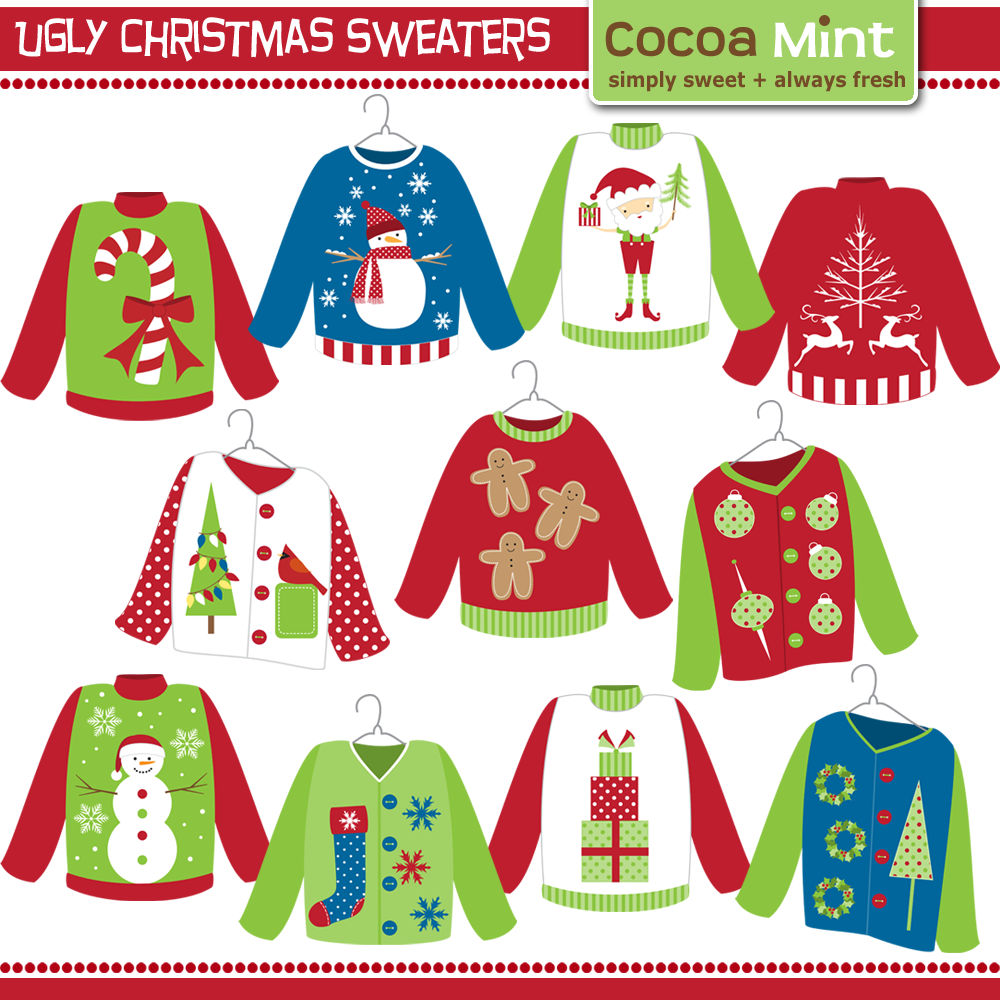 Ugly sweater patterns clipart black and white graphic library download Ugly Christmas Sweater Clip-Art | Redneck Ugly Sweater Party ... graphic library download
