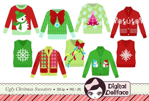 Tacky holiday sweater clipart image transparent Ugly Christmas Sweater Clipart, Tacky Holiday Sweater, Party ... image transparent