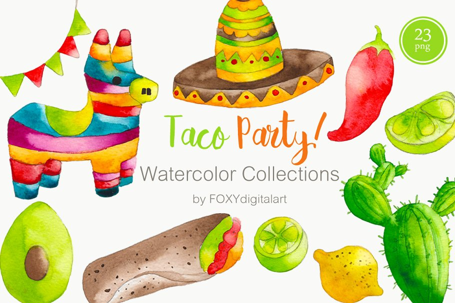 Taco above a hand clipart jpg freeuse stock Watercolor Taco Mexican Food Clipart ~ Illustrations ... jpg freeuse stock