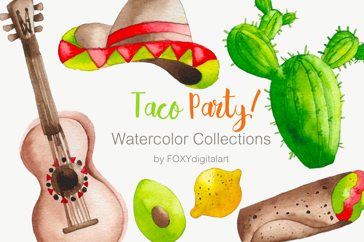 Taco above a hand clipart jpg library library Watercolor Taco Mexican Food Clipart By FOXYdigitalart ... jpg library library
