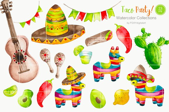 Taco above a hand clipart clipart royalty free download Watercolor Taco Mexican Food Clipart clipart royalty free download