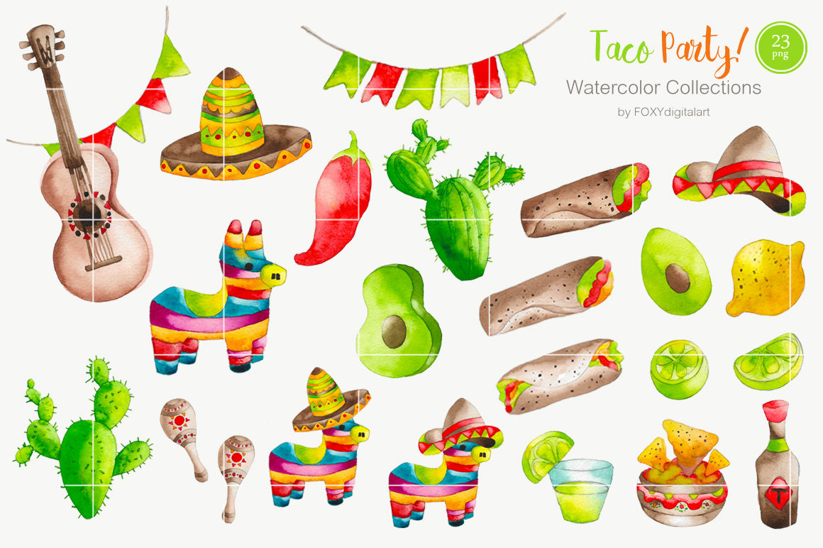Taco above a hand clipart clip download Watercolor Taco Mexican Food Clipart By FOXYdigitalart ... clip download