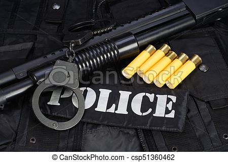 Tactical firearms clipart black background vector black and white download Special weapons and tactics team equipment on black background vector black and white download