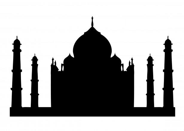 Taj clipart vector black and white library Taj Mahal Silhouette Clipart Free Stock Photo - Public ... vector black and white library