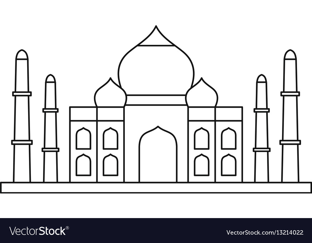Taj mahal vector clipart banner black and white Taj mahal icon outline style banner black and white