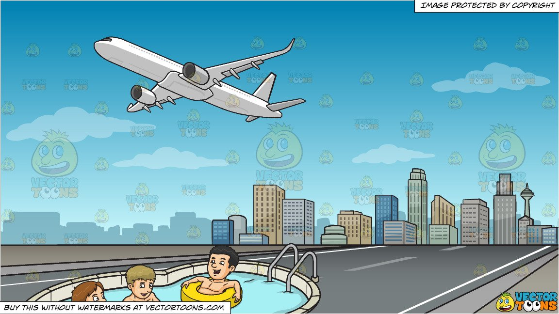 Take a dip swimming clipart clipart freeuse library Three Friends Enjoying A Dip In The Pool and Airplane Taking Off Background clipart freeuse library