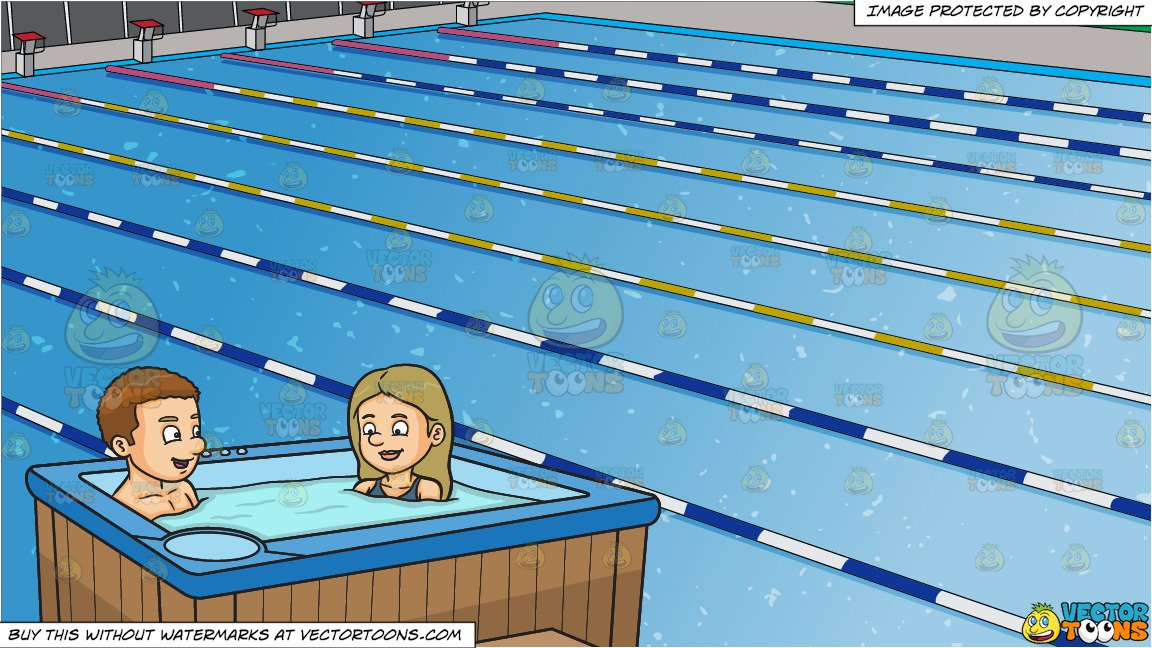 Take a dip swimming clipart royalty free stock A Couple Enjoying A Dip In The Tub and Outdoor Competition Swimming Pool  Background royalty free stock