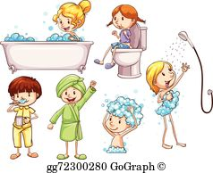 Take a shower clipart banner black and white library Taking Shower Clip Art - Royalty Free - GoGraph banner black and white library