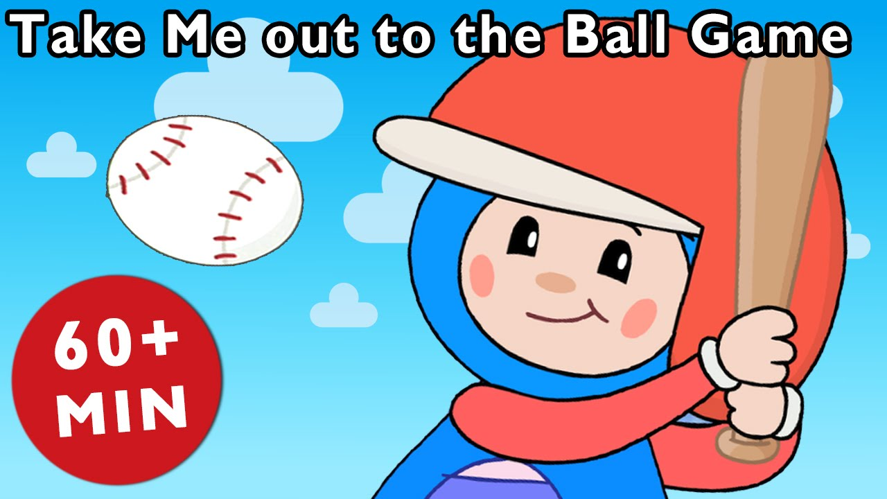 Take me out to the ballgame clipart picture black and white Take Me out to the Ball Game + More | Mother Goose Club Kid Songs and  Nursery Rhymes picture black and white