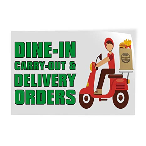 Take out orders available clipart clip transparent stock Amazon.com : Decal Sticker Dine-in Carry-Out & Delivery ... clip transparent stock