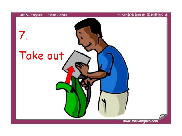 Take out your book clipart graphic stock Flash cards phrasal verbs graphic stock