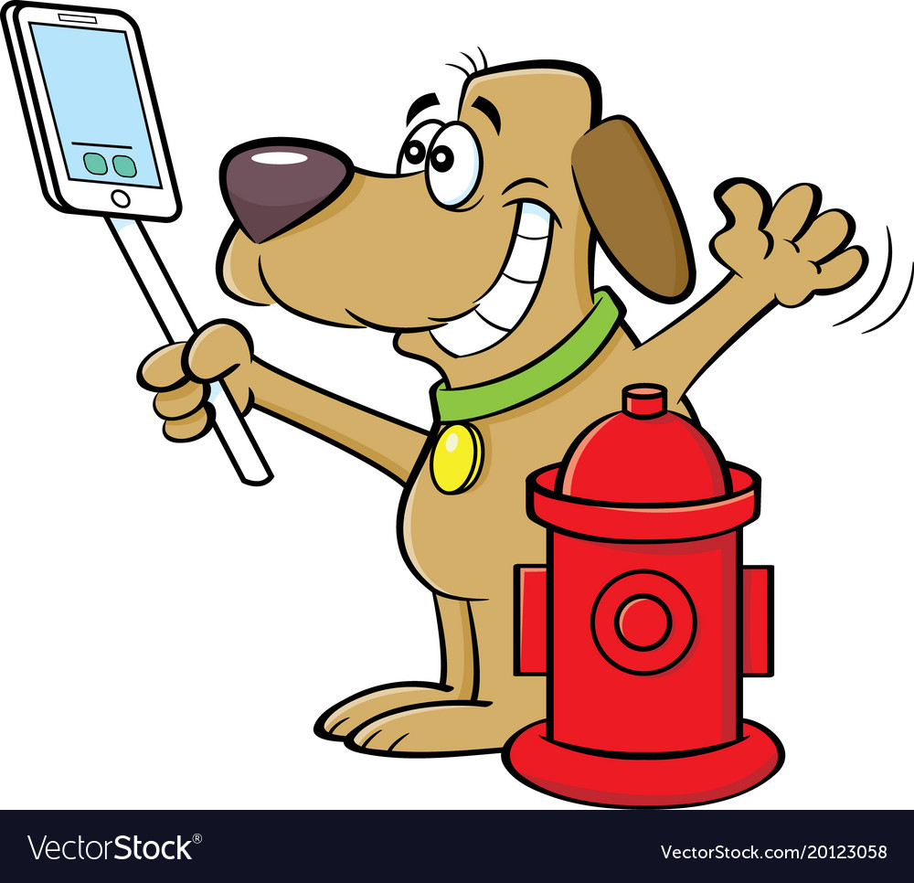 Taking a dog out clipart picture royalty free stock Cartoon dog taking a selfie with a fire hydrant picture royalty free stock