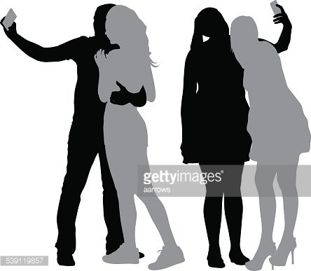 Taking a selfie clipart silhouette vector black and white stock Silhouettes Man and Woman Taking Selfie With Smartphone ... vector black and white stock