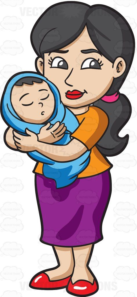 Taking care of baby clipart image black and white library A mom taking care of her baby #cartoon #clipart #vector ... image black and white library