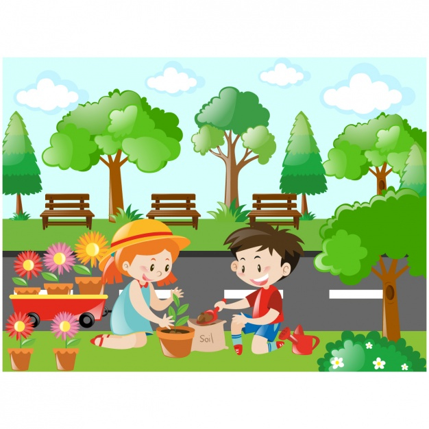 Taking care of kid clipart picture transparent stock Kids taking care of the plants - Nohat picture transparent stock