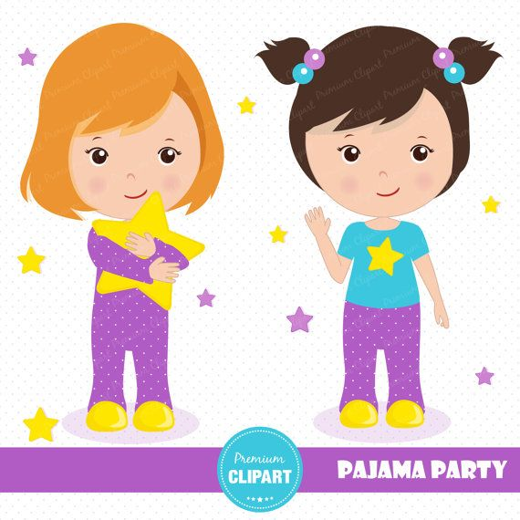Taking off pajamas clipart girls graphic black and white library 70% OFF SALE Sleepover party clipart Pajama by ... graphic black and white library