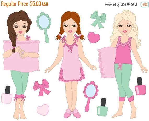 Taking off pajamas clipart girls vector transparent stock 50% OFF SALE Pyjama Girl Clipart - Digital Vector Pyjama ... vector transparent stock
