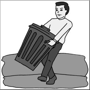 Taking out the trash clipart svg download Clip Art: Kids: Chores: Taking Out the Trash Grayscale I ... svg download
