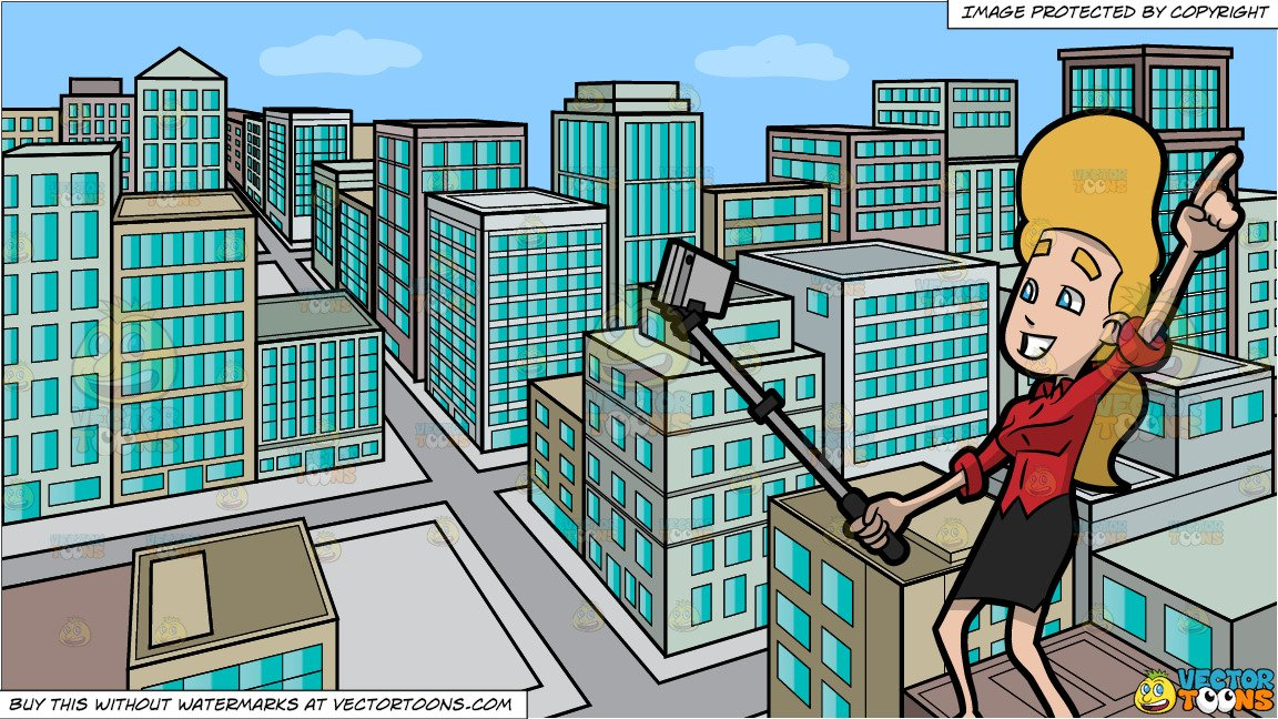 Taking picturesof building clipart clip free download A Woman Using A Monopod To Take A Selfie and A View Of The City From A Top  Of A Building During The Day Background clip free download