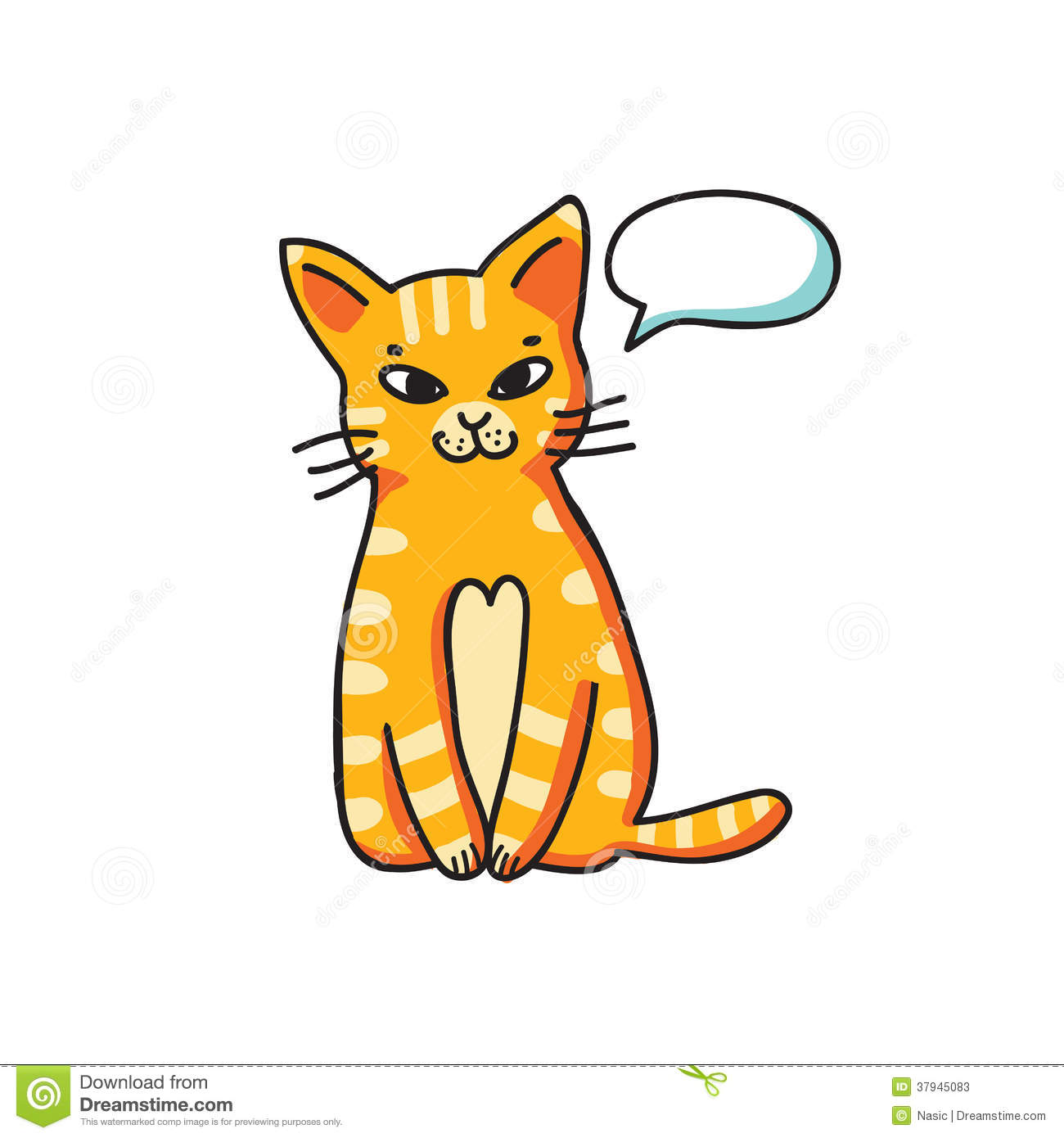 Talking tom clipart picture royalty free library Red Cat With Talking Bubble On White Background Stock Photos ... picture royalty free library