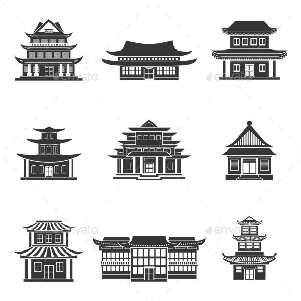 Tall ancient chinese structure clipart clipart transparent Chinese House Icons Black   Footage Video in 2019   Chinese ... clipart transparent