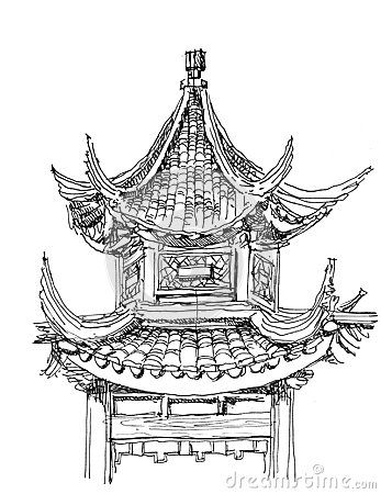 Tall ancient chinese structure clipart vector transparent Chinese temple drawing   ILLUSTRATION in 2019   Temple ... vector transparent