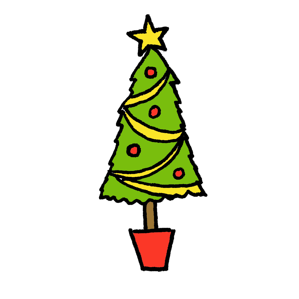 Tall christmas tree clipart clip black and white library How to Draw a Christmas Tree: 4 Cartoon Tutorials clip black and white library