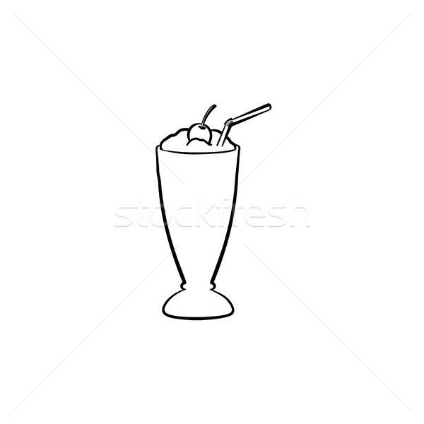 Tall glass of milk clipart png free Milk cocktail in tall glass hand drawn sketch icon vector ... png free