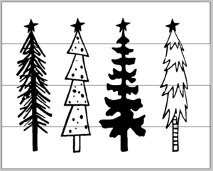 Tall thin fall tree clipart svg freeuse Tall Skinny Christmas trees 14x17 svg freeuse
