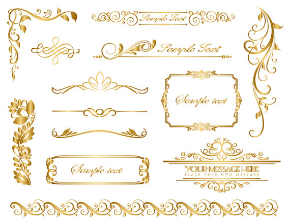 Tan fancy filigree clipart clip Instant Download Gold Frame Border Clip Art Gold Flourish ... clip