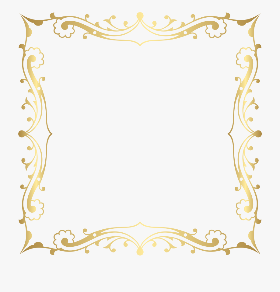 Tan fancy filigree clipart svg free Decorative Border Frame Transparent Clip Art Image #126497 ... svg free
