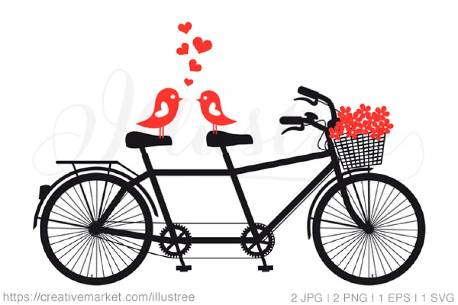 Tandem bicycle clipart graphic transparent stock Tandem bicycle with love birds graphic transparent stock