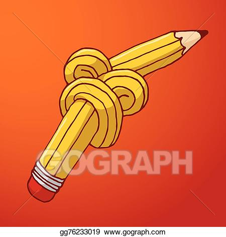 Tangled in knot clipart free Vector Illustration - Tied up pencil with complex knot. EPS ... free