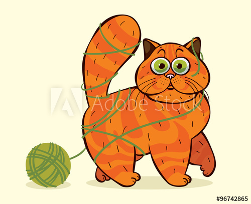 Tangled yarn clipart clip black and white library Funny cat caught in a tangle of yarn. - Buy this stock ... clip black and white library