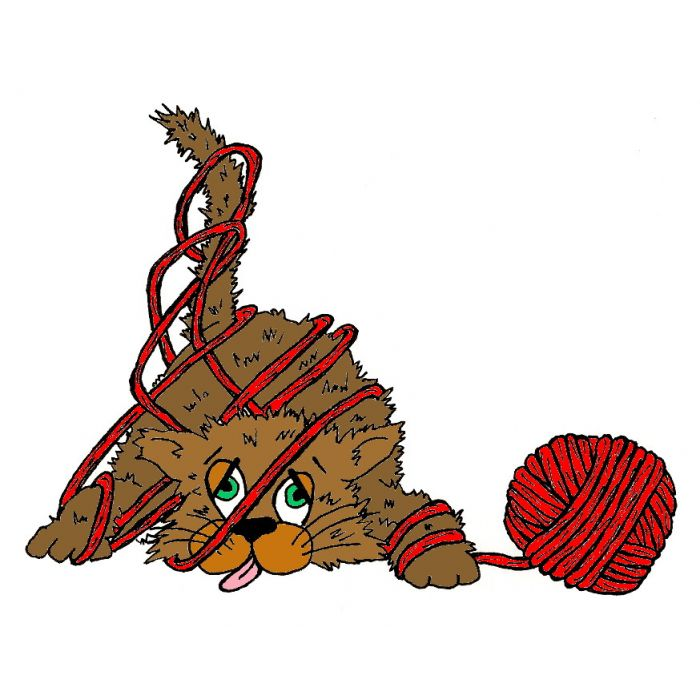 Tangled yarn clipart graphic transparent Cat Tangled In Yarn 2 1/2 x 2 graphic transparent