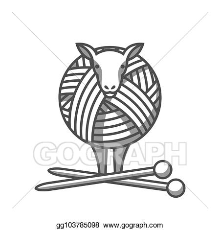 Tangled yarn clipart png free stock Vector Illustration - Wool emblem with sheep, tangle of yarn ... png free stock