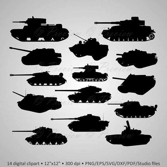 Tank silhouette clipart jpg transparent library Buy 2 Get 1 Free! Digital Clipart Tanks Silhouettes, weapon ... jpg transparent library