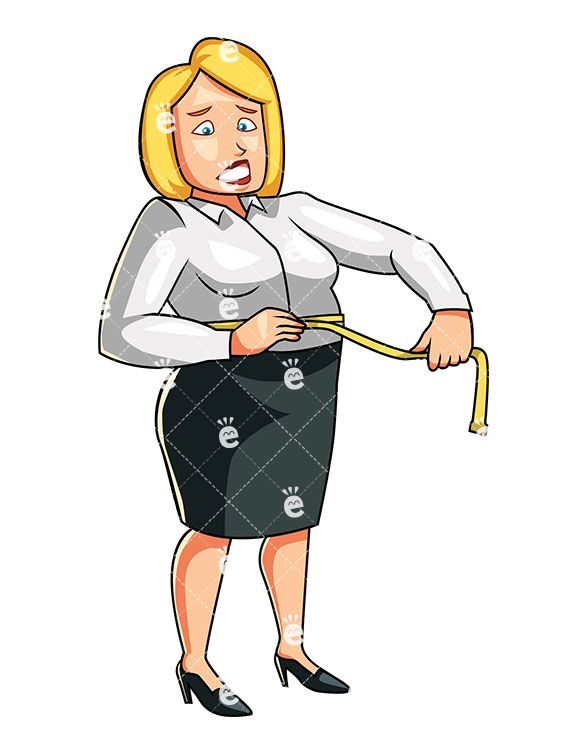Tape measure around waist clipart clip transparent download An Overweight Woman Measuring Her Waistline With A Yellow ... clip transparent download