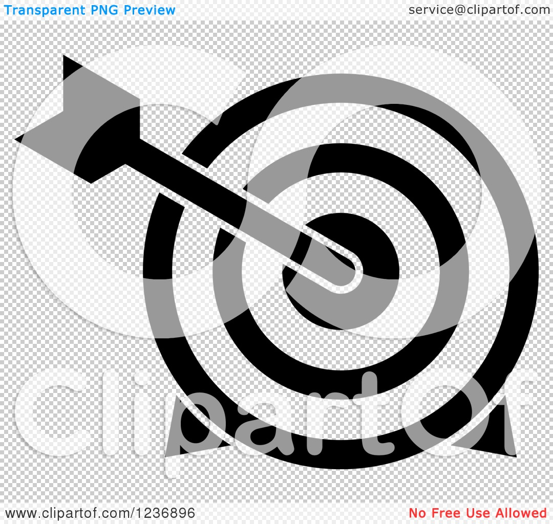 Target clipart no background graphic free stock Clipart of a Black and White Bullseye Archery Arrow and Target ... graphic free stock