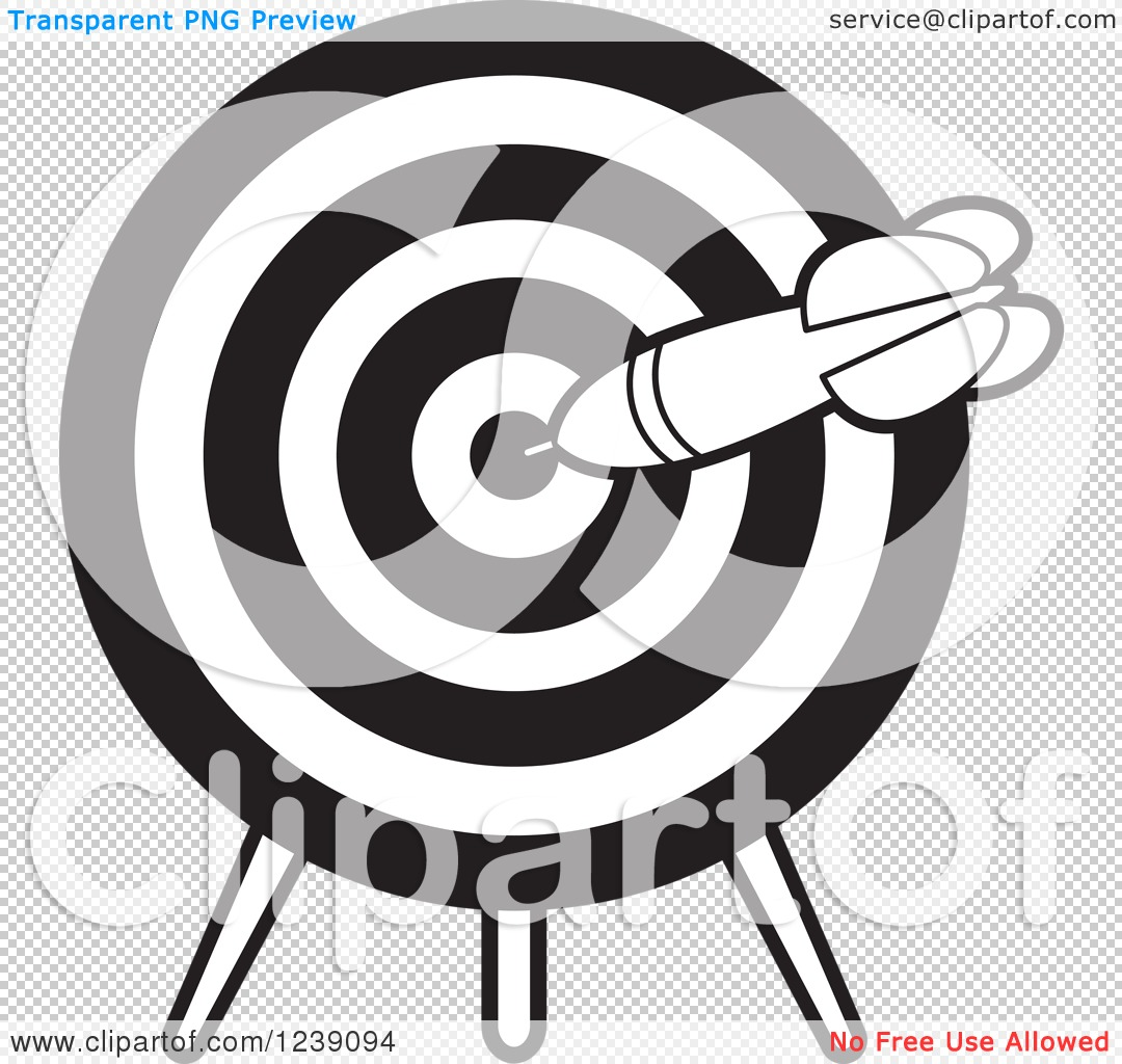 Target clipart no background image library Clipart of a Black and White Dart in a Target - Royalty Free ... image library