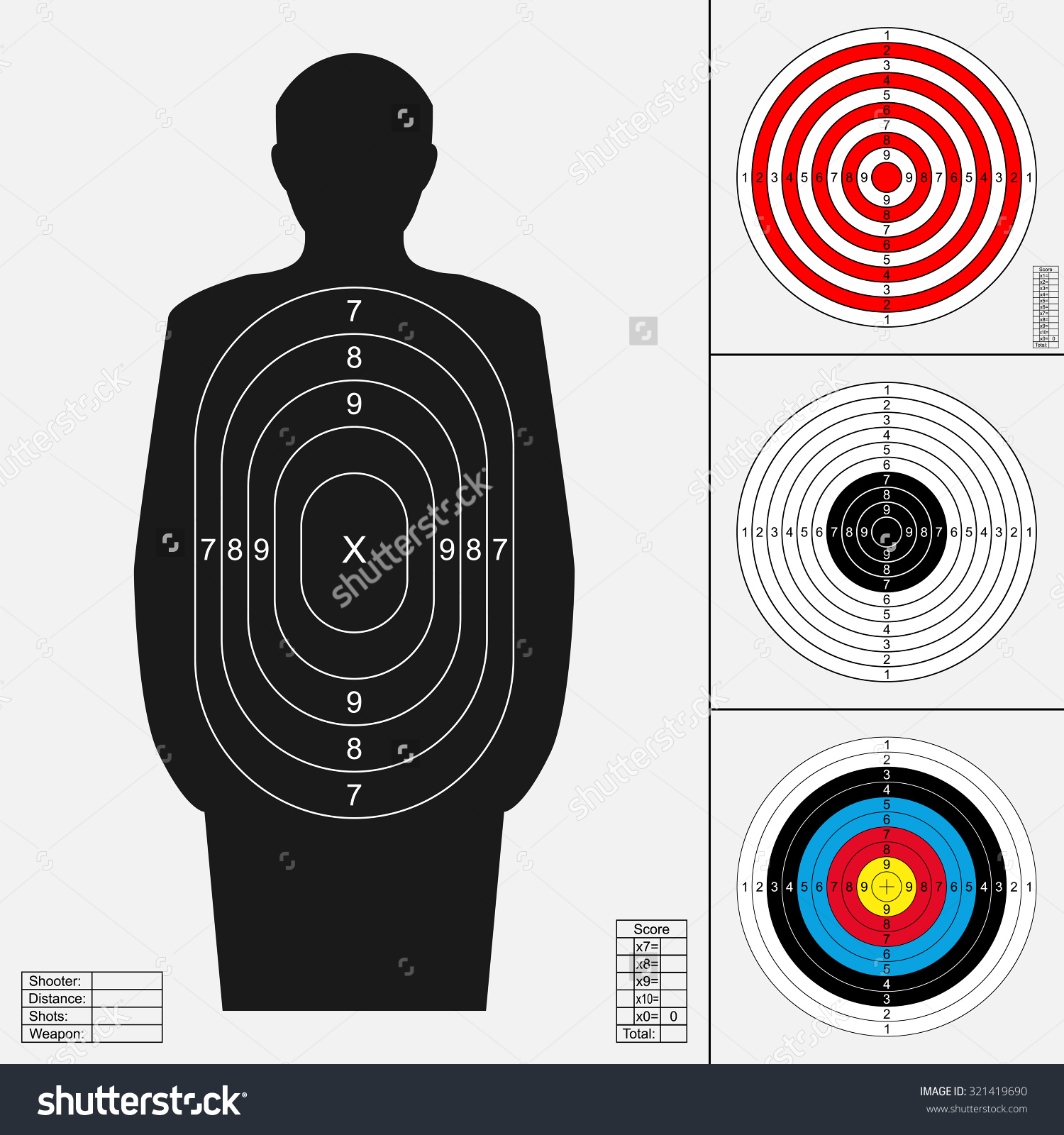 Target on body shot arrow clipart image transparent download Shooting Target Set Silhouette Human Archery Stock Vector ... image transparent download