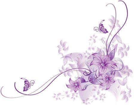Tarjeta morada con flores clipart