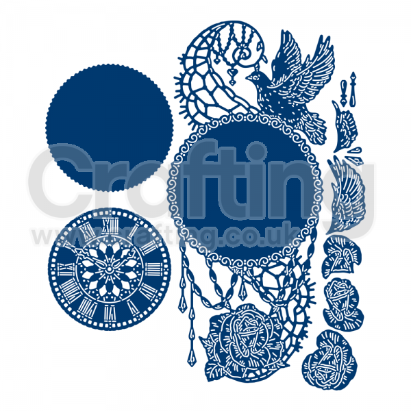 Tattered sign on a wood stick clipart graphic black and white stock Tattered Lace Time Piece Die Set graphic black and white stock