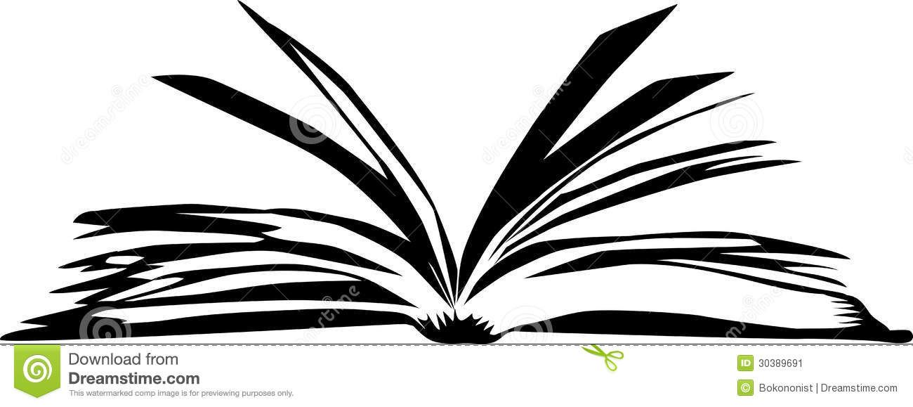 Open black and white book with words clipart