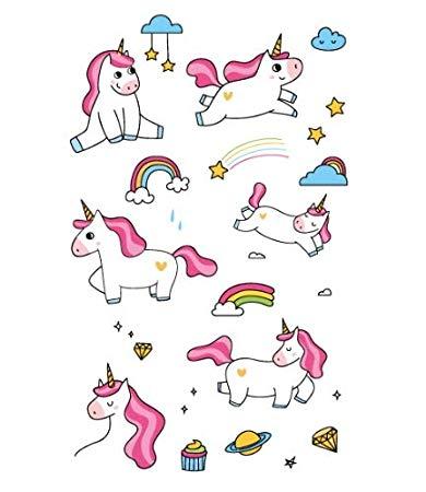 Tattoo clipart children clip art black and white stock Amazon.com : Victory Rocooart Cartoon Unicorn Tattoo For ... clip art black and white stock