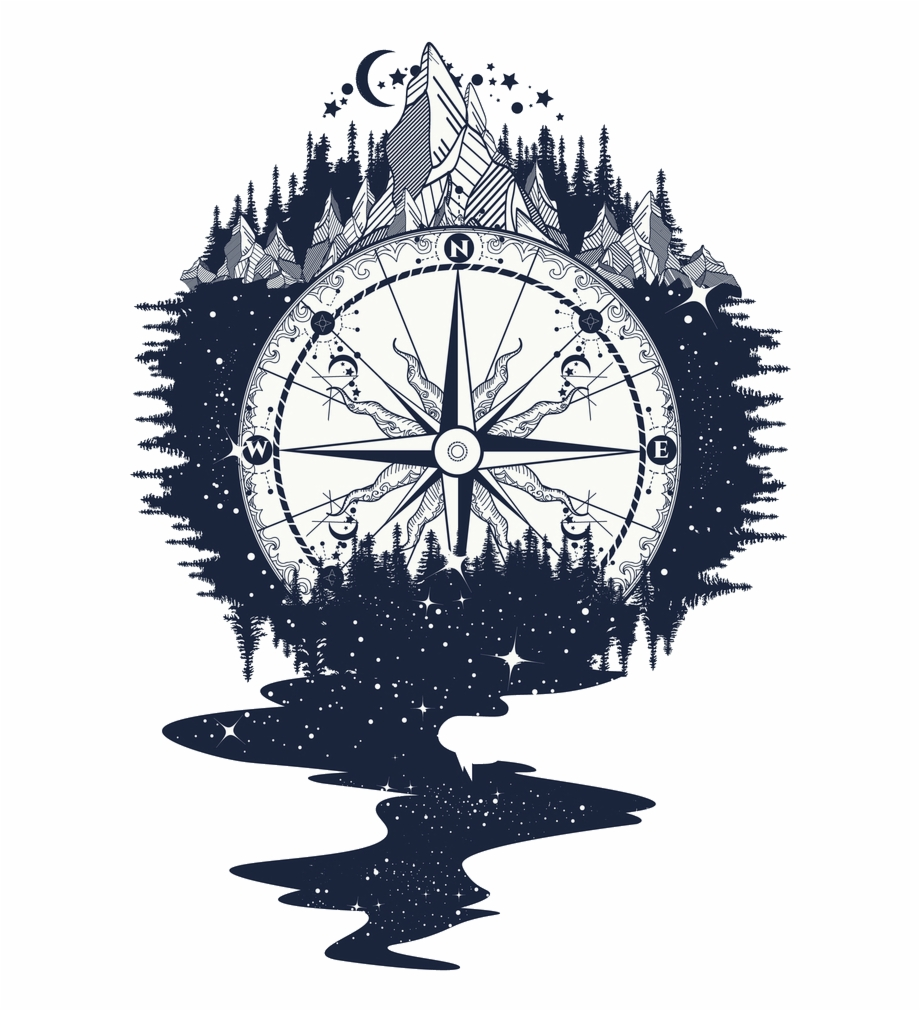 Tattoo compass clipart vector download Rose Art Compass Png Download Free Clipart - Compass With ... vector download