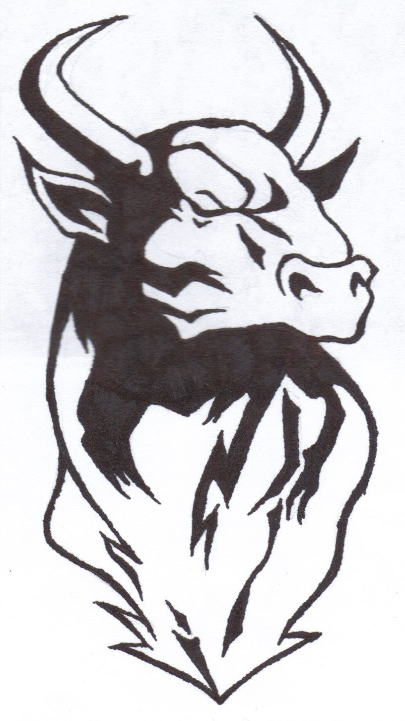 Taurus bull with crown clipart png library Taurus Bull Drawing Bull tattoos | 1 | Bull tattoos, Taurus ... png library
