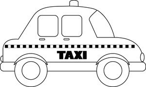 Taxi black and white clipart banner library library black_and_white_outline_of_a_taxi_coloring_page_0515-1005 ... banner library library