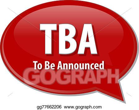 Tba clipart banner stock Stock Illustrations - Tba acronym word speech bubble ... banner stock
